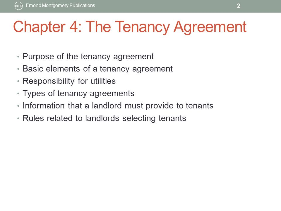 Chapter 4 The Tenancy Agreement Emond Montgomery Publications Ppt