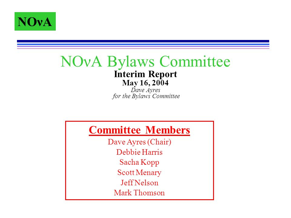 NOνA NOνA Bylaws Committee Int...