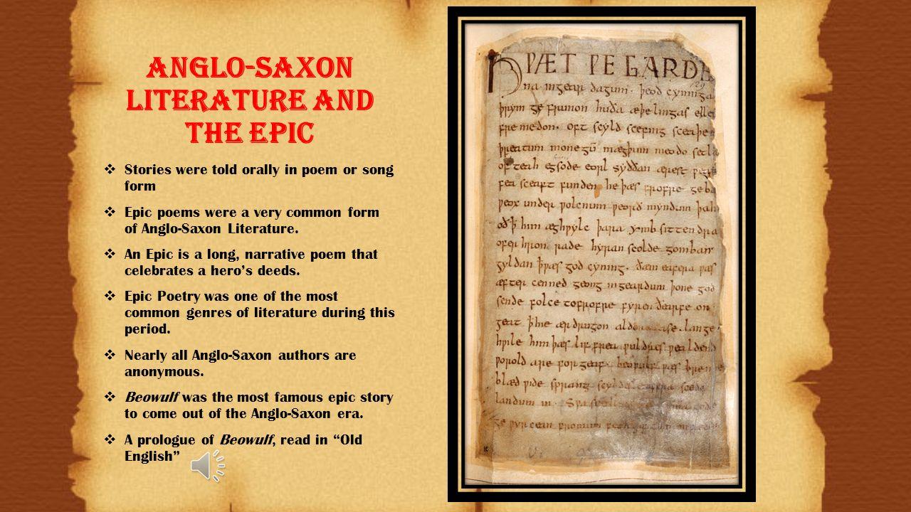 five characteristics of anglo saxon literature