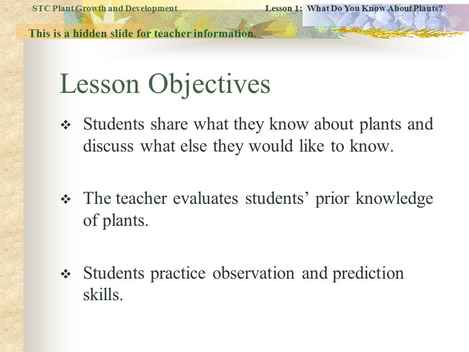 STC Plant Growth and Development Lesson 1: What Do You Know