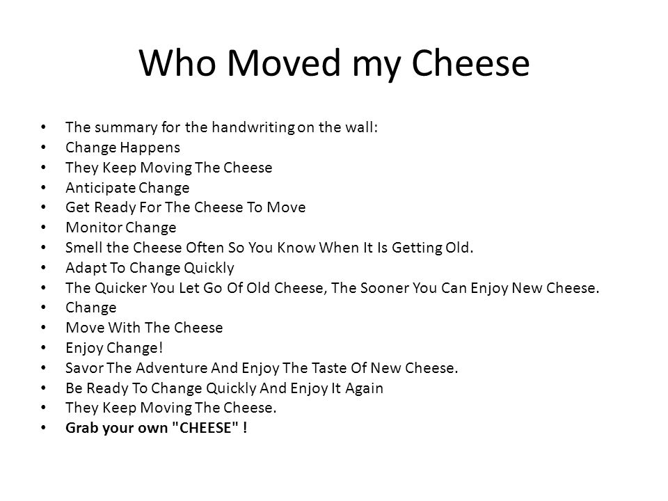 who moved my cheese character analysis