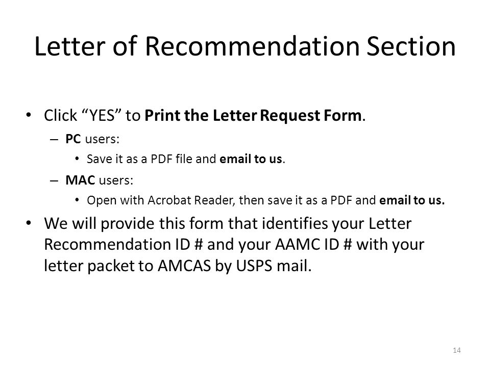 14 letter of recommendation section click yes to print the letter request form