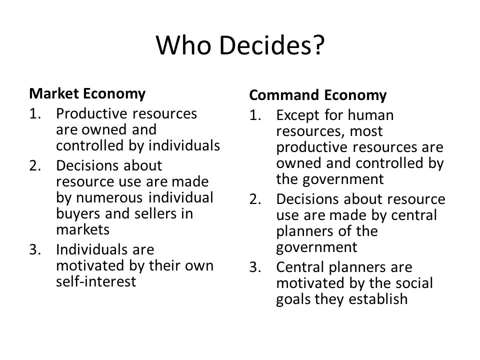 who owns the resources in a command economy