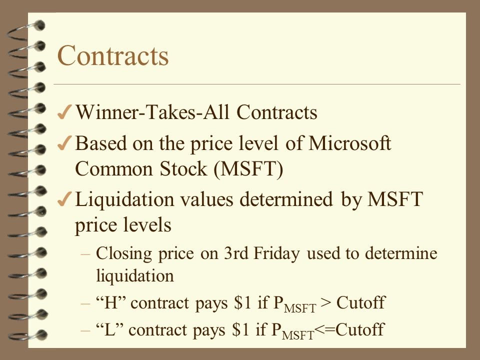 Msft Microsoft Price Level Market Iowa Electronic Markets Ppt