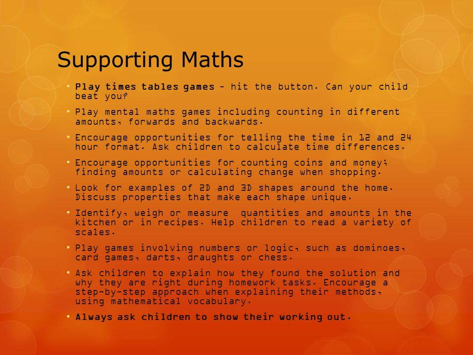 Supporting Maths Play times tables games – hit the button.