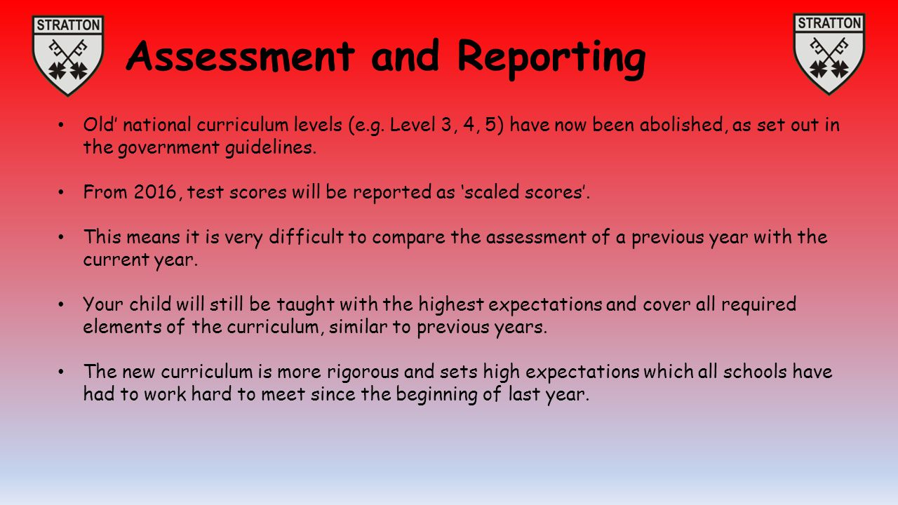 Assessment and Reporting Old' national curriculum levels (e.g.