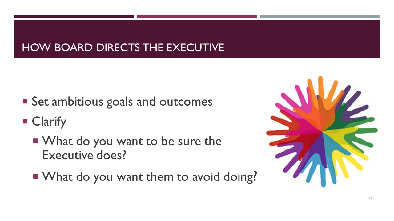 HOW BOARD DIRECTS THE EXECUTIVE 21  Set ambitious goals and outcomes  Clarify  What do you want to be sure the Executive does.