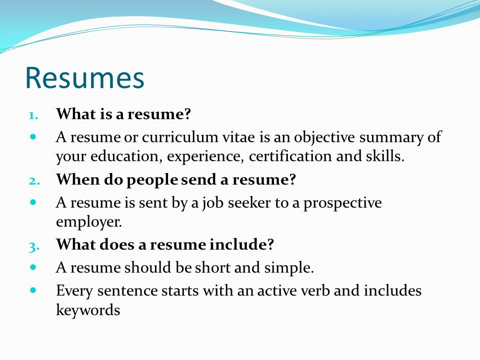 What is an active resume