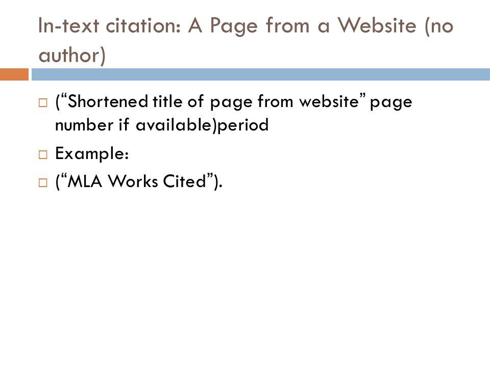 work cited mla websites