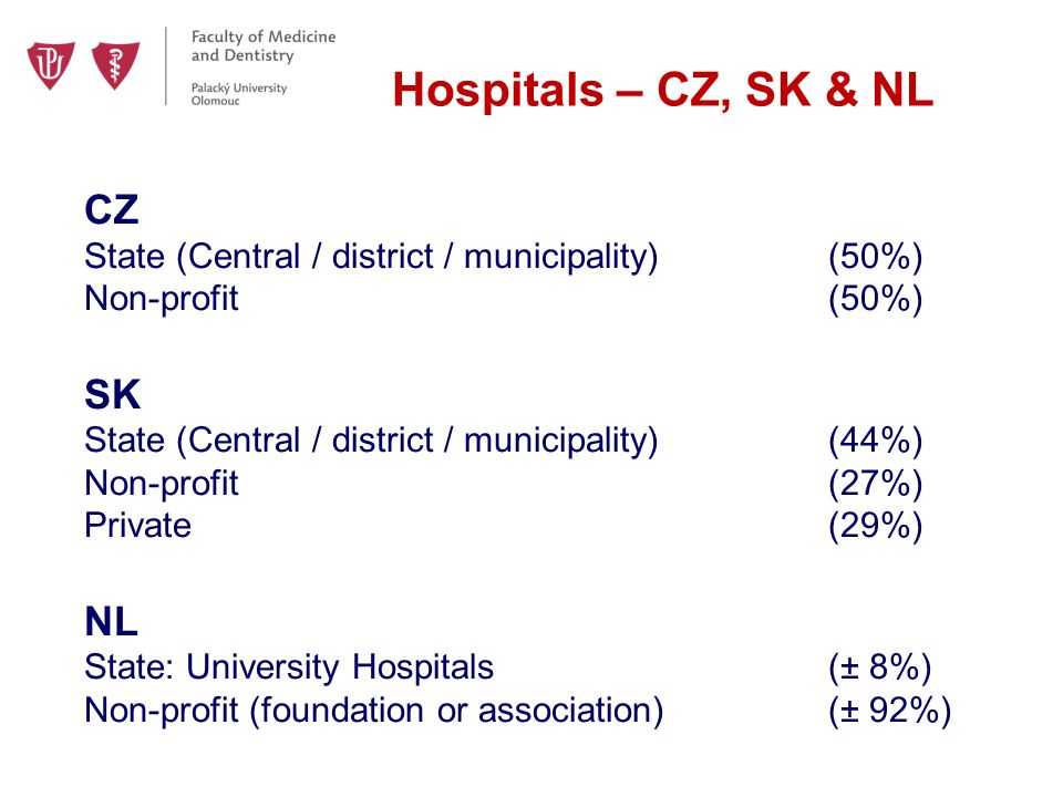 Hospitals – CZ, SK & NL CZ State (Central / district / municipality)(50%) Non-profit(50%) SK State (Central / district / municipality)(44%) Non-profit(27%) Private (29%) NL State: University Hospitals(± 8%) Non-profit (foundation or association)(± 92%)
