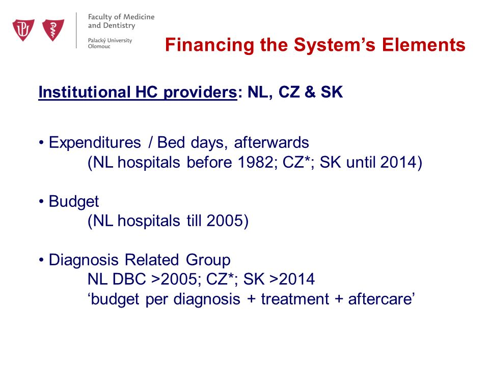 Financing the System's Elements Institutional HC providers: NL, CZ & SK Expenditures / Bed days, afterwards (NL hospitals before 1982; CZ*; SK until 2014) Budget (NL hospitals till 2005) Diagnosis Related Group NL DBC >2005; CZ*; SK >2014 'budget per diagnosis + treatment + aftercare'