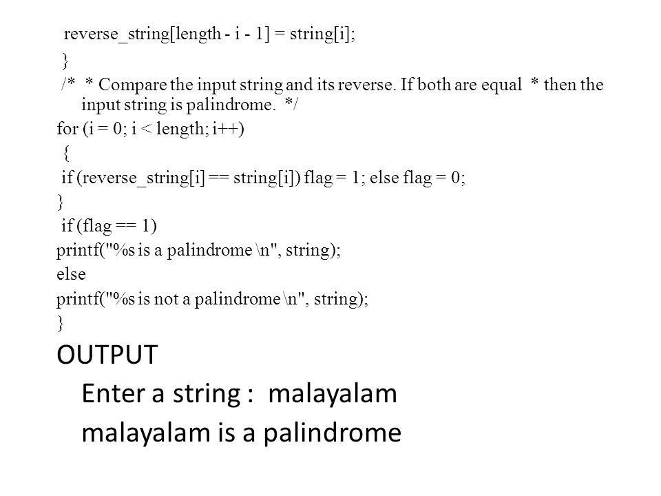 palindrome program in c
