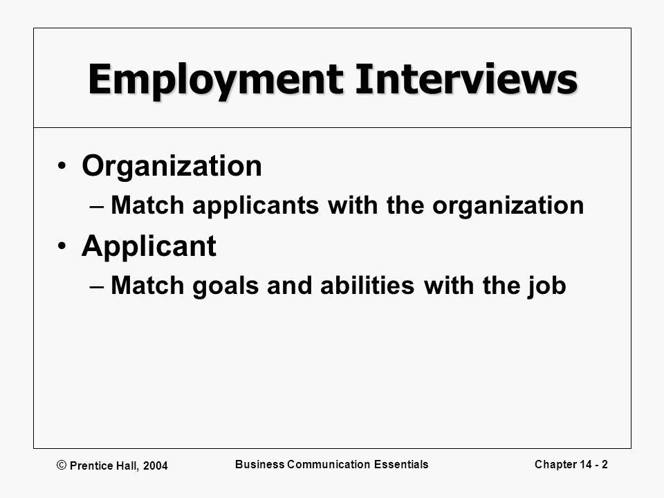 prentice hall 2004 business communication essentialschapter 14 1 interviewing for employment and following up