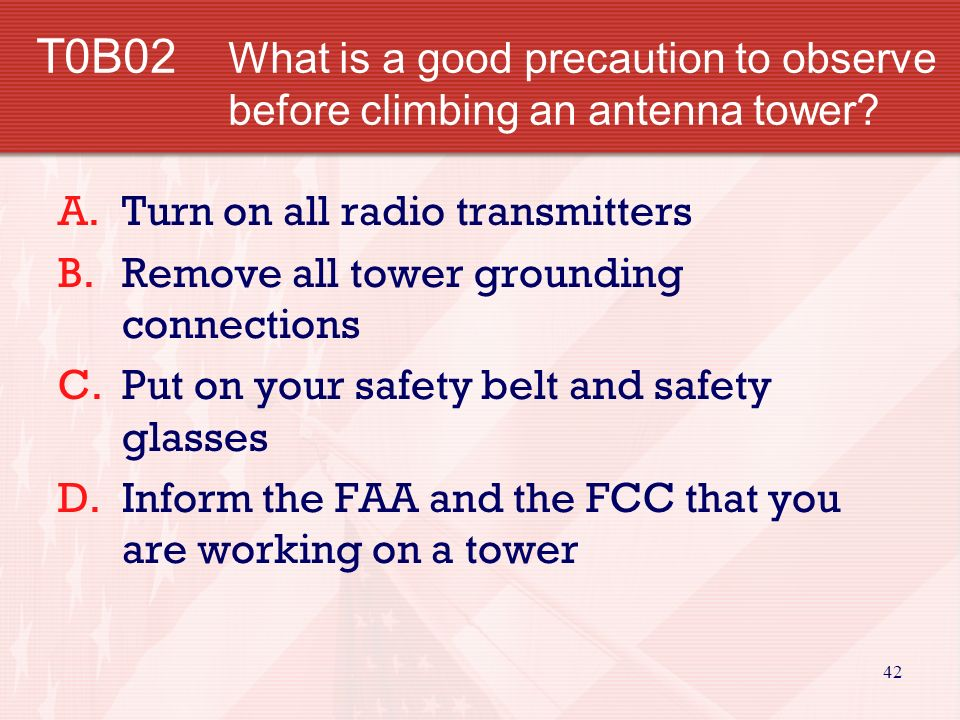41 T0B01 Why should you wear a hard hat and safety glasses if you are on the ground helping someone work on an antenna tower.