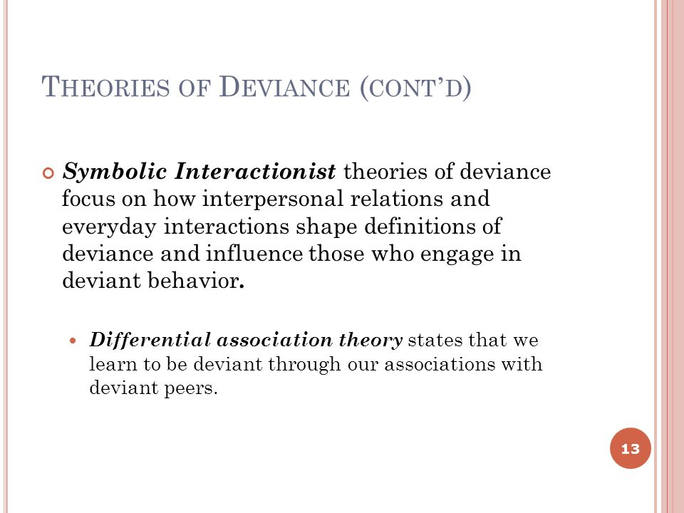 limitations of theories of sociology of deviance Consensus theories of crime and deviance the functionalist perspective on crime and deviance – class notes covering durkhiem's 'society of saints' (the inevitability of crime), and his views on the positive functions of crime – social integration, social regulation and allowing for social change.
