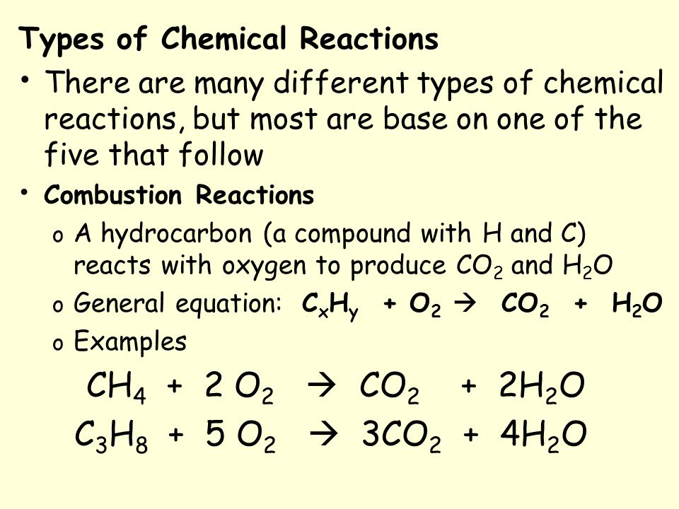 Types Of Chemical Reactions Aim Ce2 What Are The Five General Types