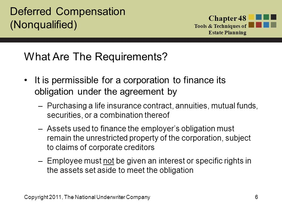 Deferred Compensation Nonqualified Chapter 48 Tools Techniques