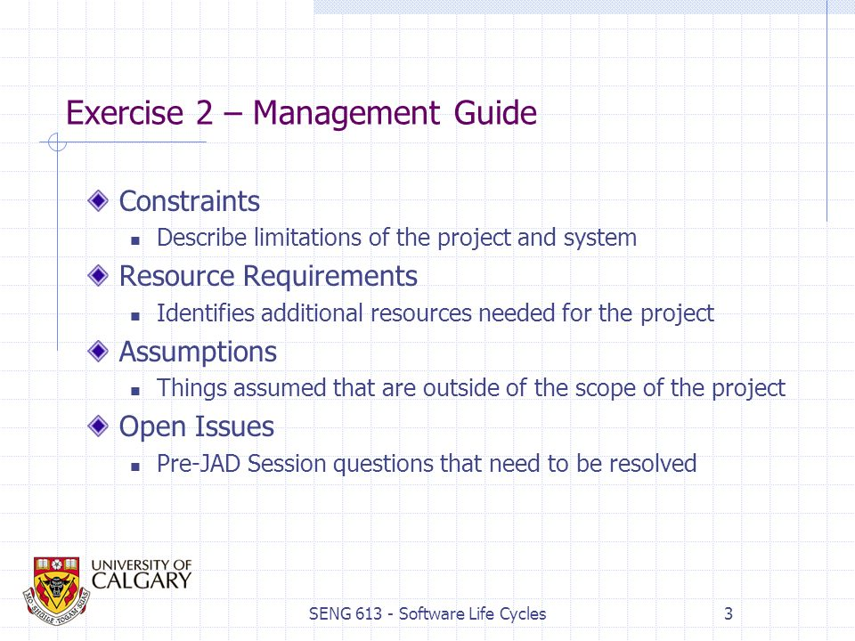 SENG Software Life Cycles1 Exercise 2 Management Guide As A Group