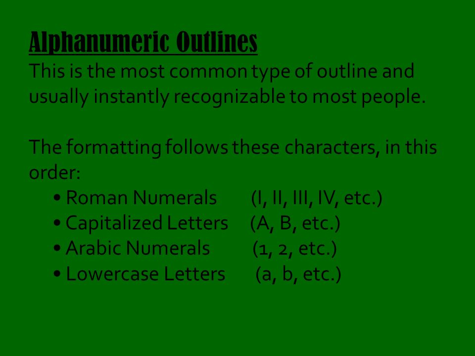 alphanumeric outline example