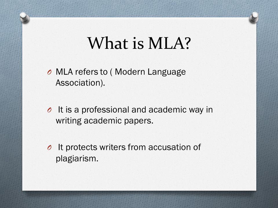 mla format what is mla o mla refers to modern language