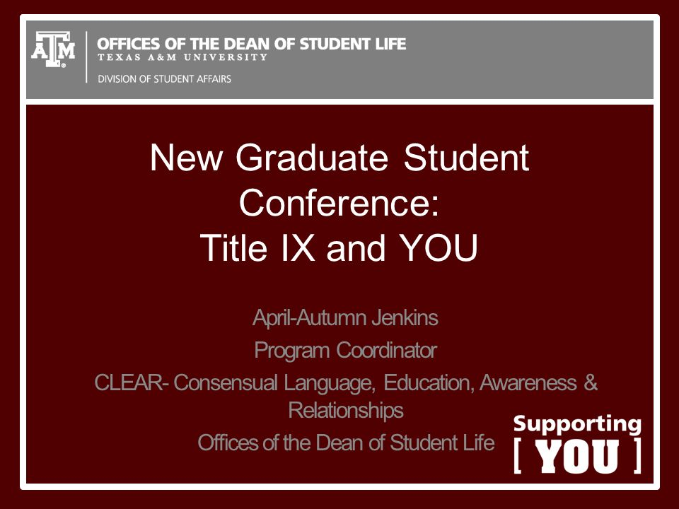 New Graduate Student Conference: Title IX and YOU April