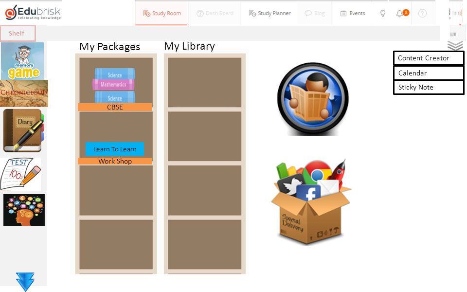 Shelf My Packages My Library CBSE Work Shop Learn To Learn Content Creator Calendar Sticky Note