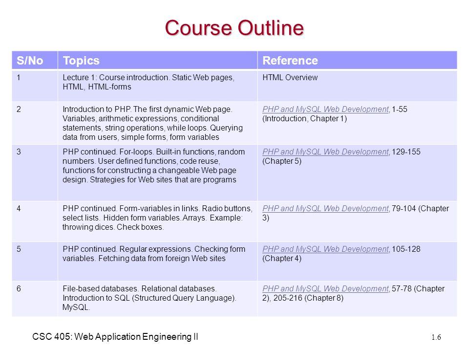 CSC 405: Web Application Engineering II Course Preliminaries Course