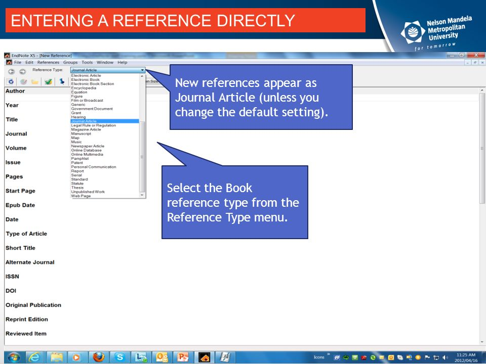 Add references citations manually to endnote compiled by helene entering a reference directly new references appear as journal article unless you change the default ccuart Image collections