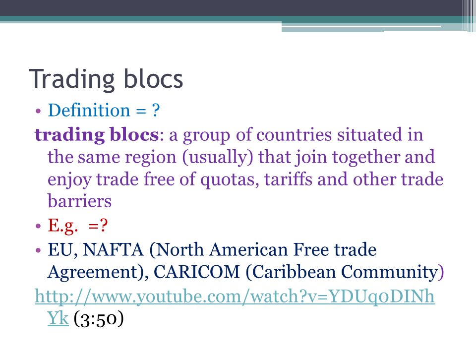 trading blocs essay Free essay: trading blocs nowadays, the world is increasingly divided into trade blocs two types of trading blocs are recognized by the wto : the free trade.