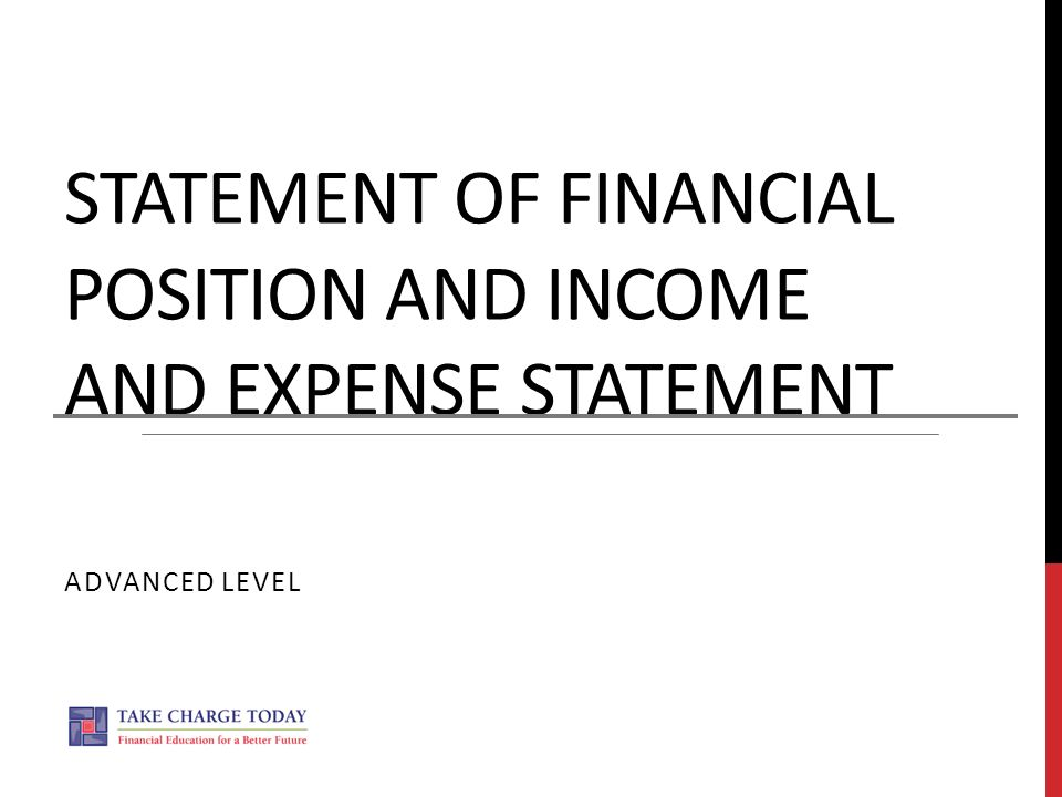 statement of financial position and income and expense statement