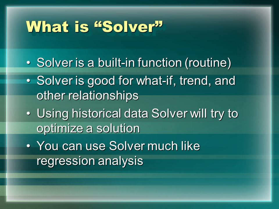 Using Microsoft Excel Solver Function A quick review of the power of ...