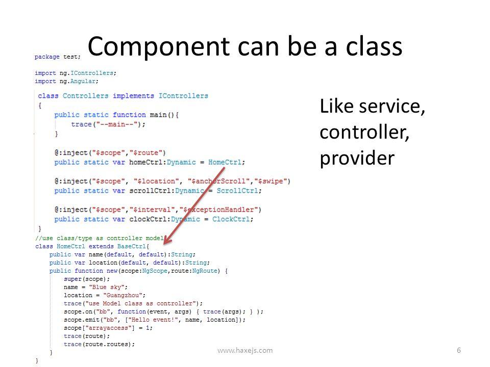 Understand haxejs-angular app How to write app in OOP(Haxe) and
