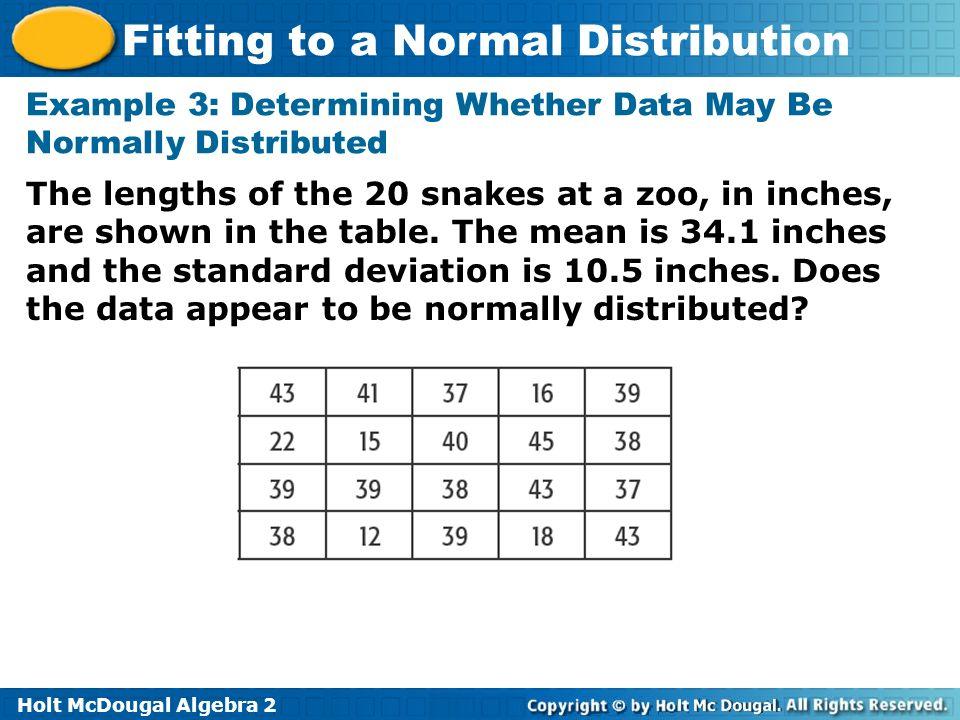 Holt Mcdougal Algebra 2 Fitting To A Normal Distribution Holt