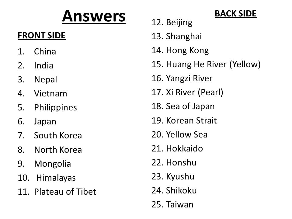 EAST ASIA PRACTICE QUIZ Nations 1-9 Mongolia China North