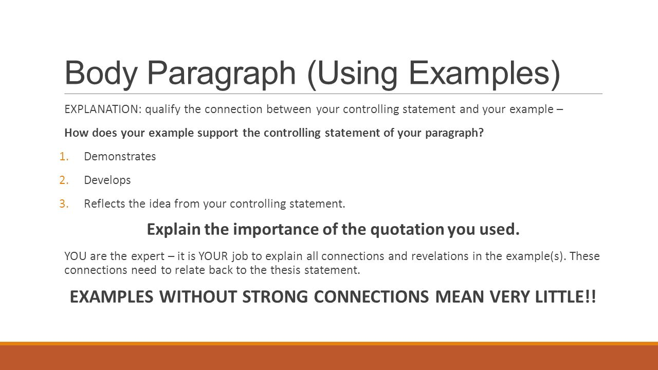 connection paragraph examples