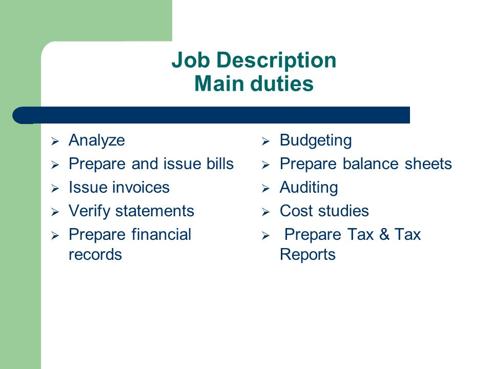 Accounting Circle By Shumsul Nauffer Outline Job Description - Invoice job description