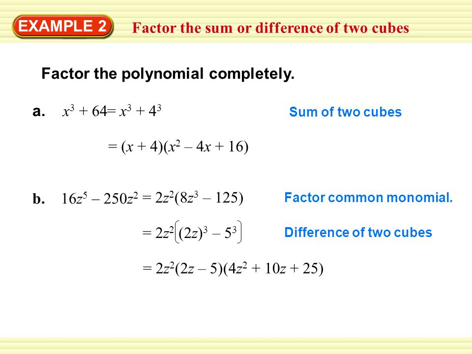 Exle 2 Factor The Sum Or Difference Of Two Cubes Polynomial Pletely: Factoring Sum And Difference Of Cubes Worksheet At Alzheimers-prions.com