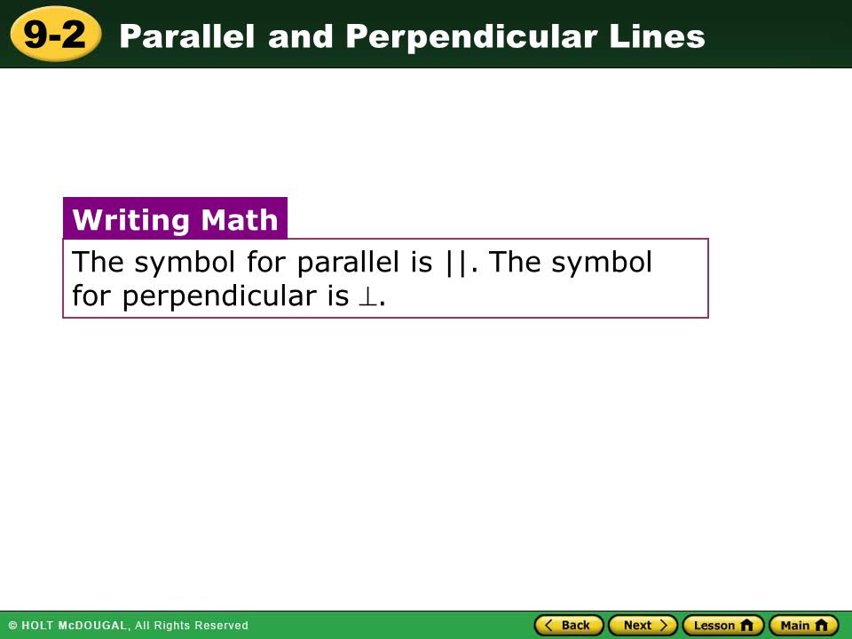 9 2 Parallel And Perpendicular Lines Warm Up Warm Up Lesson