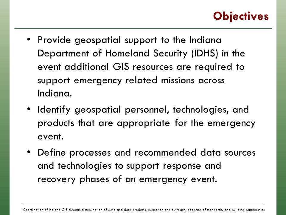 Coordination of Indiana GIS through dissemination of data and data on