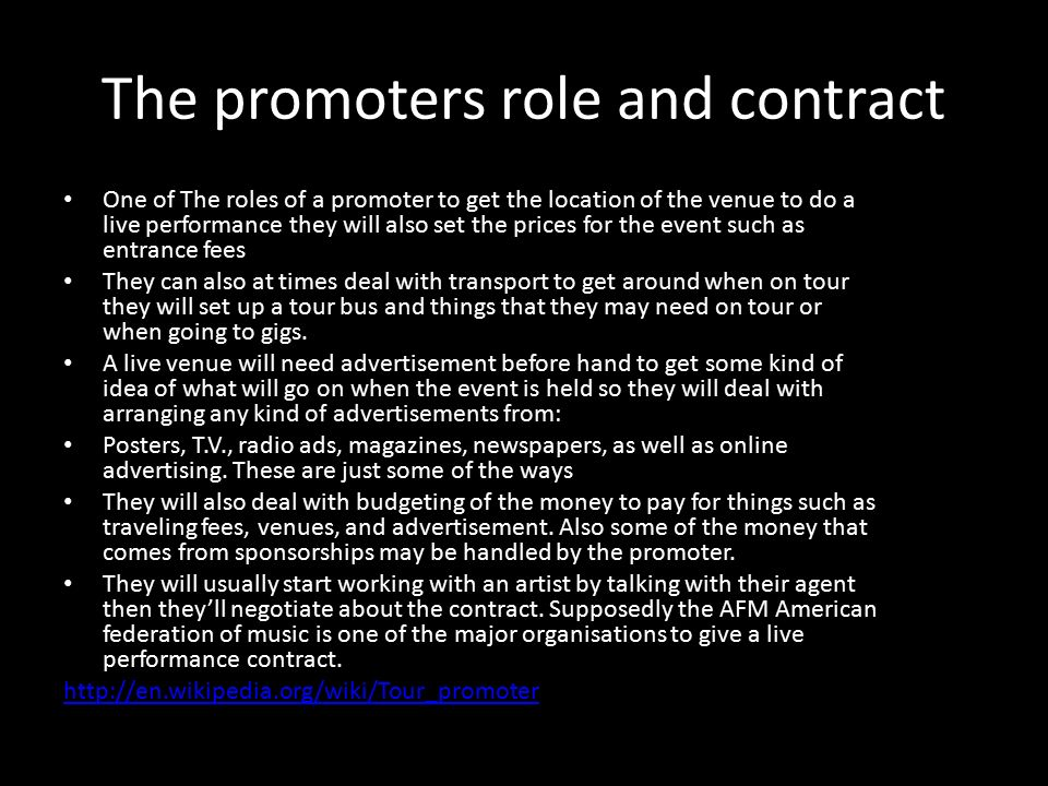 The Promoters Role And Contract One Of Roles A Promoter To Get Location