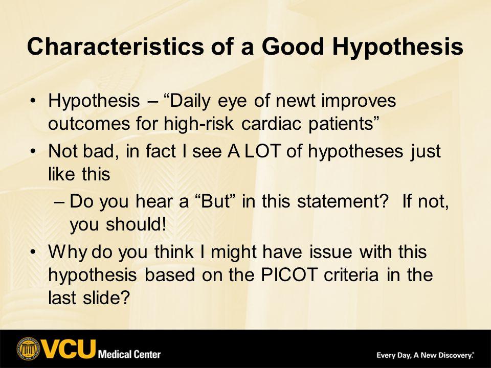 Good hypothesis vs bad hypothesis
