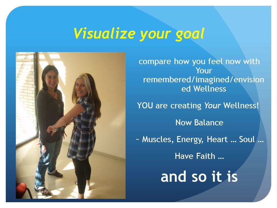 Visualize your goal compare how you feel now with Your remembered/imagined/envision ed Wellness YOU are creating Your Wellness.