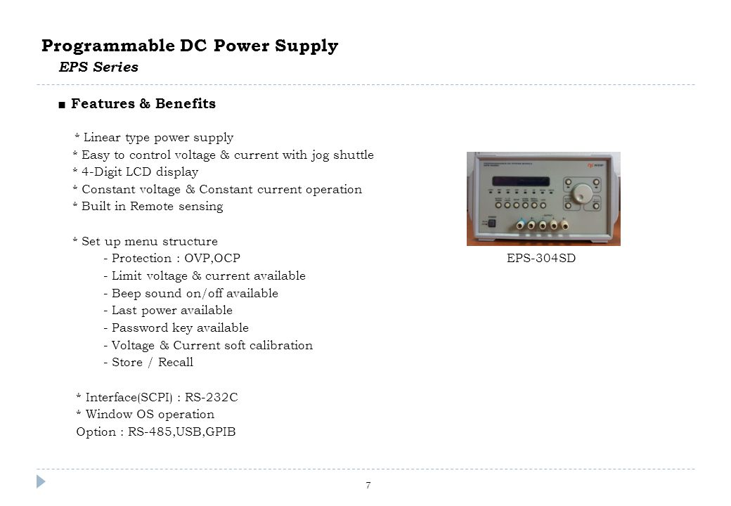 7 Programmable DC Power Supply EPS Series □ Features & Benefits