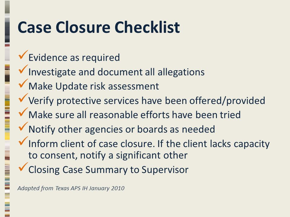 Case Closure in Adult Protective Services APS CORE