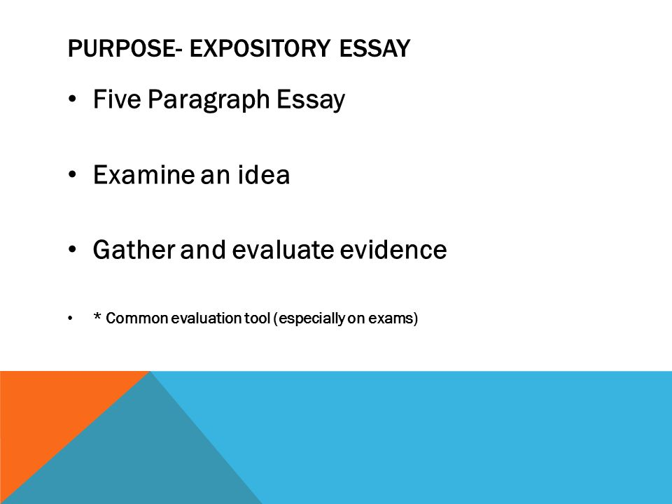 Narrative Essay Examples For High School  Purpose Expository Essay Five Paragraph Essay Examine An Idea Gather And  Evaluate Evidence  Common Evaluation Tool Especially On Exams Apa Format College Papers For Sale also Example Of An Essay With A Thesis Statement Four Types Of Writing Expository Essays Descriptive Essays  English Class Reflection Essay