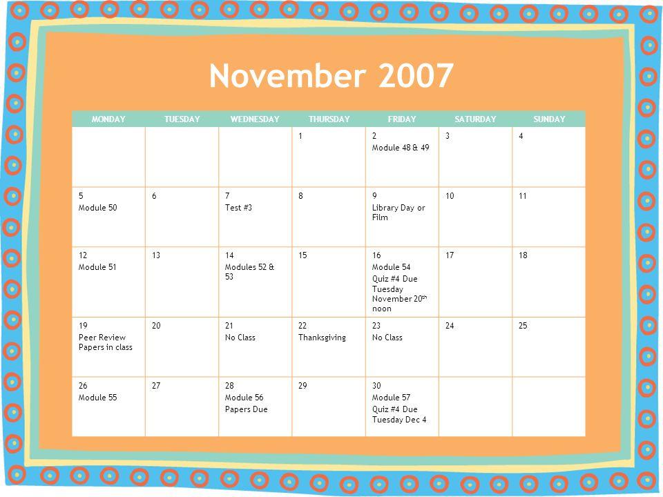 Psy 200 Principles Of Psychology Fall 2007 Calendar Ppt Download