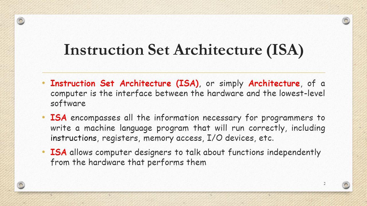 Instruction set architecture ppt download.