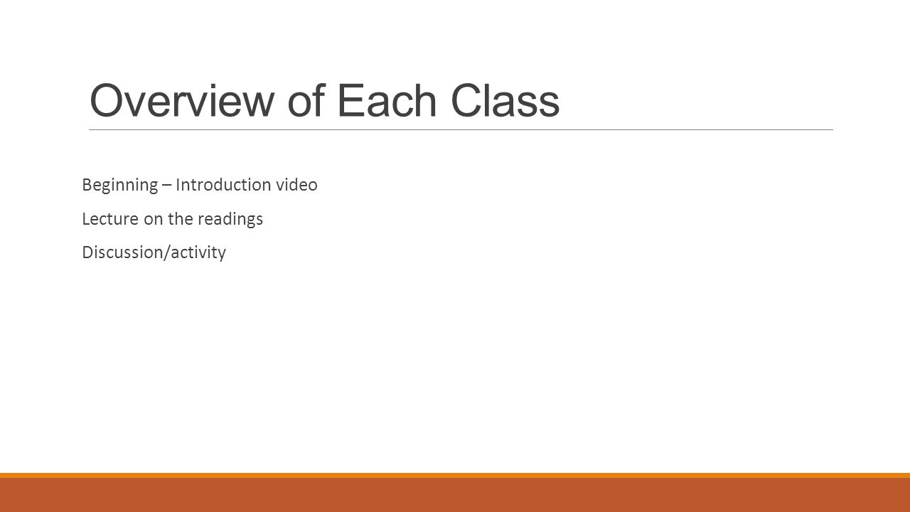 Overview of Each Class Beginning – Introduction video Lecture on the readings Discussion/activity