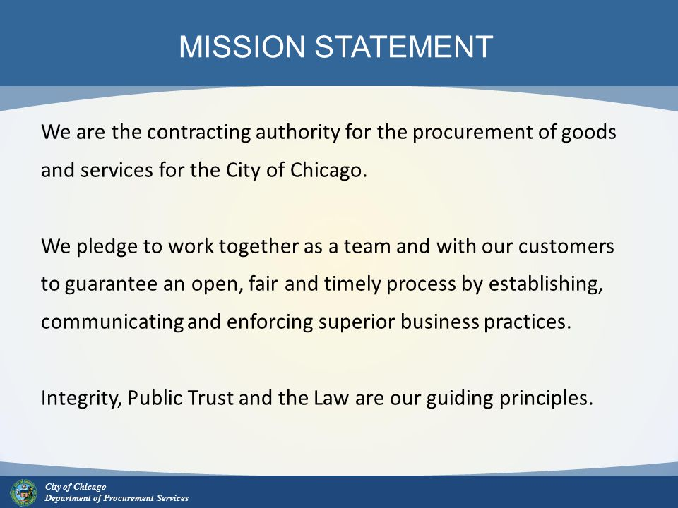 City of Chicago Department of Procurement Services Welcome