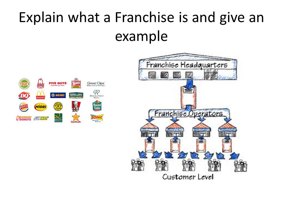 explain what a franchise is and give an example types of businesses